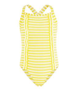 Maillot de bain protection solaire fille jaune Eblouis / blanc Marshmallow