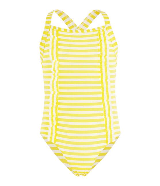 Maillot de bain une pièce à rayures détails de volants. jaune Eblouis / blanc Marshmallow