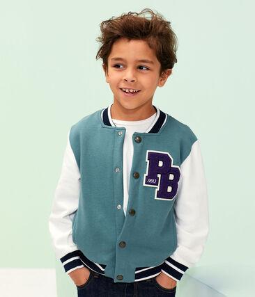 Blouson teddy enfant garçon bleu Brut / blanc Marshmallow