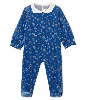 Dors bien bébé fille en velours bleu Major / blanc Marshmallow
