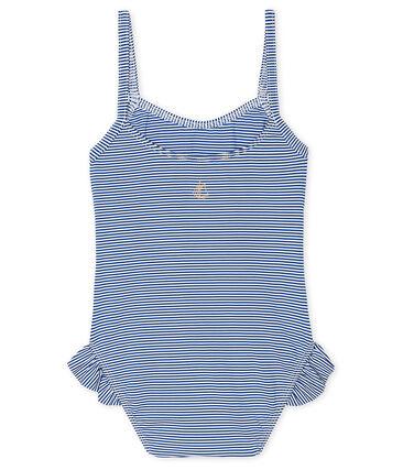 Maillot de bain UPF 50+ bébé fille bleu Surf / blanc Marshmallow