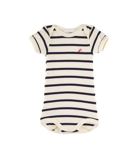 Body manches courtes bébé fille - bébé garçon beige Coquille / bleu Smoking
