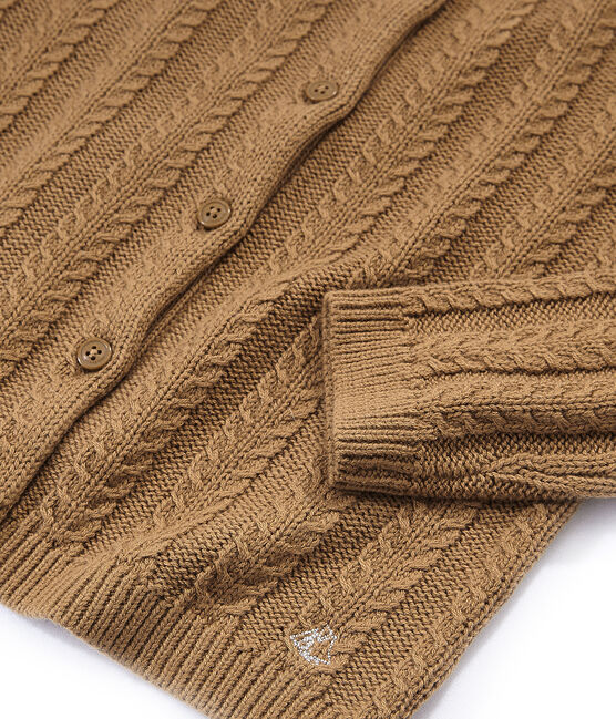 Cardigan en laine et coton marron Brindille
