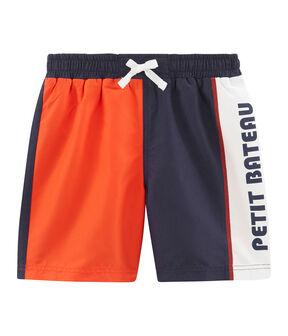 Short de plage enfant garcon bleu Touareg / orange Spicy