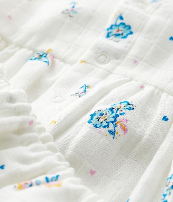 Robe fleurie manches longues avec bloomer bébé fille en tissu couche blanc Marshmallow / blanc Multico