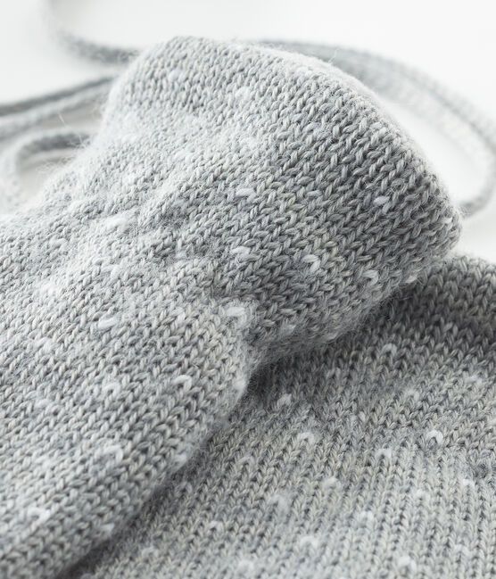 Moufles bébé mixte doublées polaire gris Subway / blanc Marshmallow