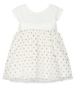 Robe et bloomer bébé fille blanc Marshmallow / jaune Or