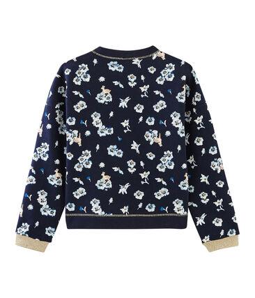 Sweatshirt enfant fille bleu Smoking / blanc Multico