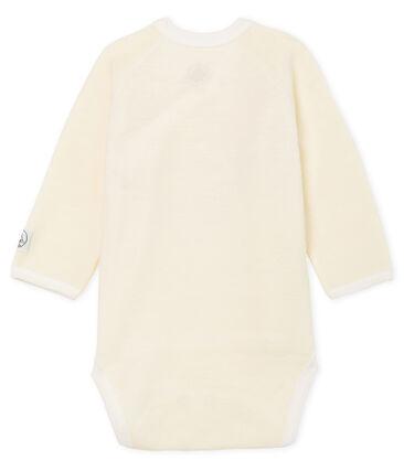 Body naissance manches longues bébé en laine et coton blanc Marshmallow