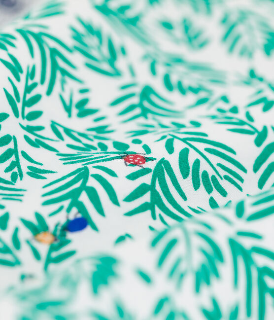 Pyjacourt imprimé végétal petit garçon en coton blanc Marshmallow / blanc Multico