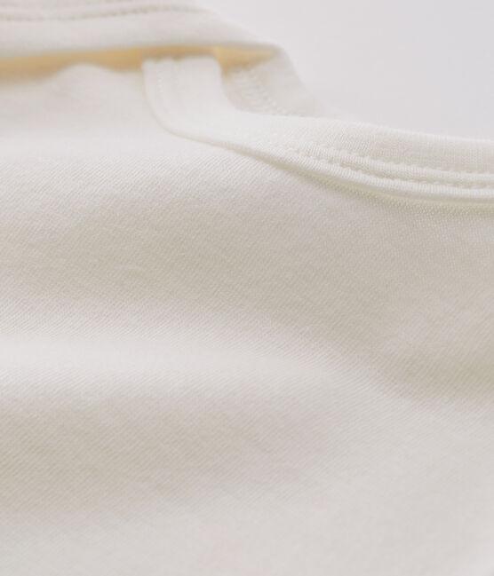 Body blanc manches longues bébé en laine et coton blanc Marshmallow