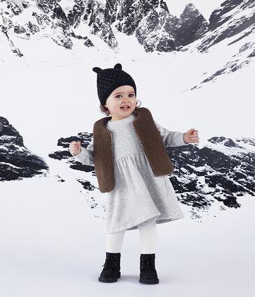 Robe manches longues bébé fille en maille velours