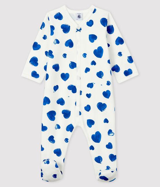 Dors-bien à cœurs bleus bébé fille en molleton blanc Marshmallow / blanc Multico
