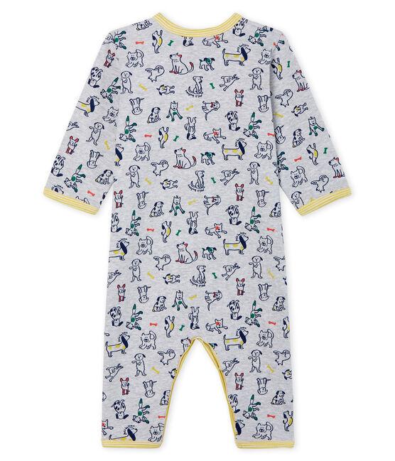 Dors bien sans pieds bébé garçon en côte gris Poussiere / blanc Multico
