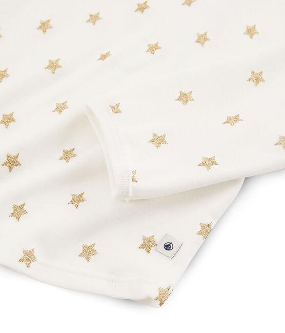 Pyjama à étoiles petite fille en côte blanc Marshmallow / jaune Or