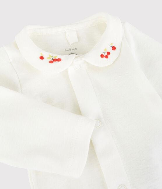 Body à col brodé bébé en coton biologique blanc Marshmallow