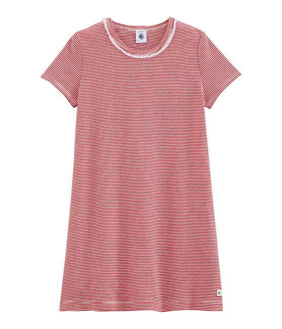 Chemise de nuit petite fille en côte rouge Terkuit / blanc Marshmallow