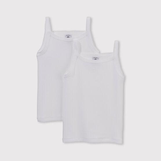 Lot de 2 chemises à bretelles blanches unies petite fille lot .