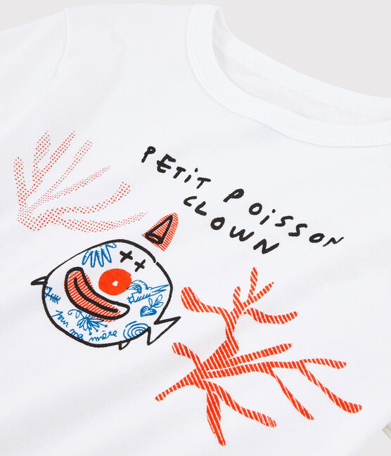 Tee shirt Serge Bloch enfant blanc Ecume