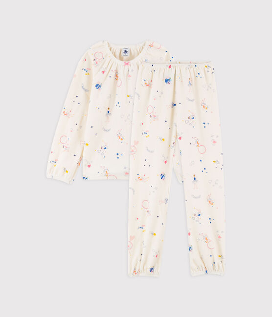 Pyjama imprimé féérique petite fille en velours blanc Marshmallow / blanc Multico