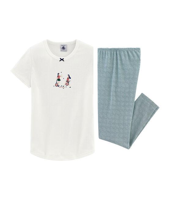 Pyjama à manches courtes petite fille en côte blanc Marshmallow / rose Rosako