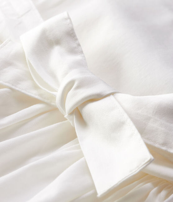 Robe manches courtes bébé fille en satin blanc Marshmallow