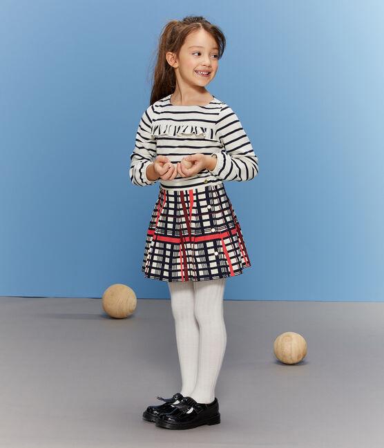Jupe plissée à carreaux enfant fille blanc Marshmallow / blanc Multico