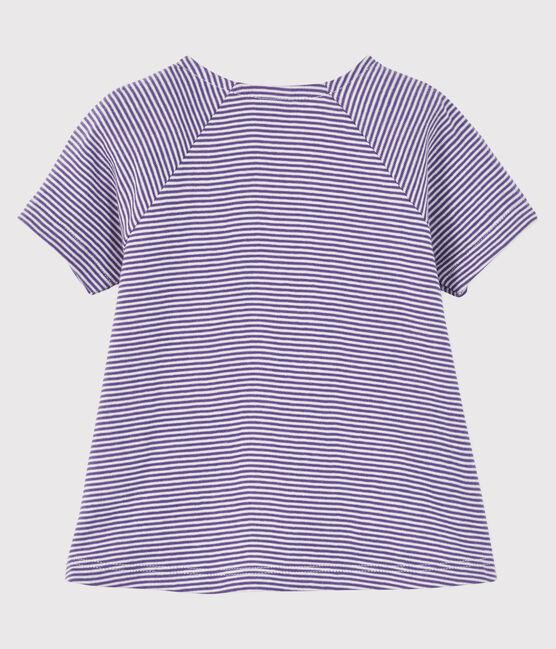 Blouse manches courtes bébé fille violet Real / blanc Marshmallow