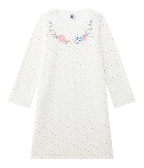 Chemise de nuit fille en bouclette velours blanc Lait / jaune Or
