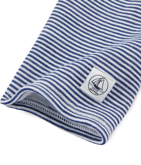 Legging enfant en laine et coton bleu Medieval / blanc Marshmallow