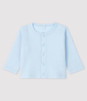 Cardigan bébé en côte 2x2 en coton biologique bleu Fraicheur