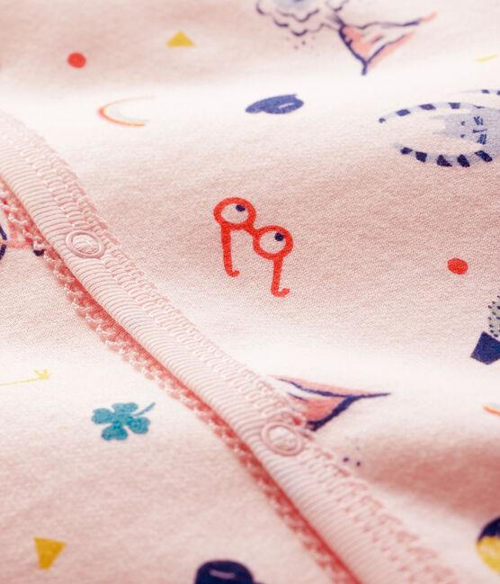 Dors-bien à imprimé animaux bébé fille en molleton rose Fleur / blanc Multico