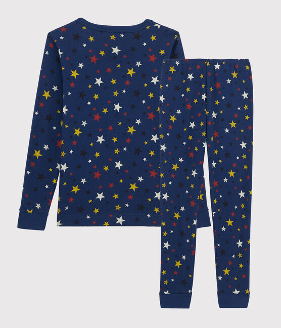 Pyjama snugfit enfant à motifs étoiles en côte bleu Medieval / blanc Multico