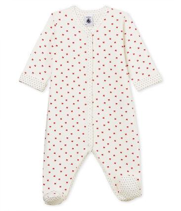 Dors bien bébé fille en tubique blanc Marshmallow / rouge Terkuit
