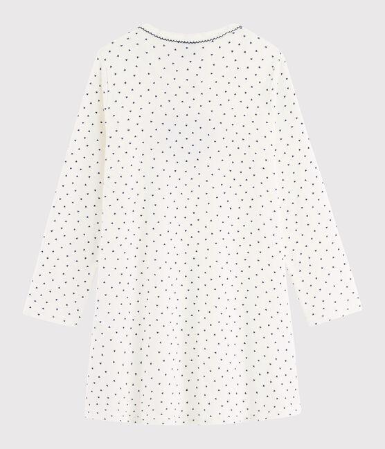 Chemise de nuit mini cœurs petite fille en côte blanc Marshmallow / bleu Medieval