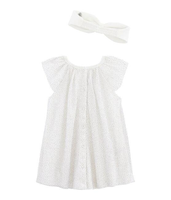 Robe manches courtes bébé fille avec bandeau blanc Marshmallow / jaune Or