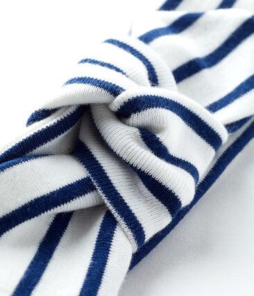 Bandeau bébé fille rayé blanc Marshmallow / bleu Smoking