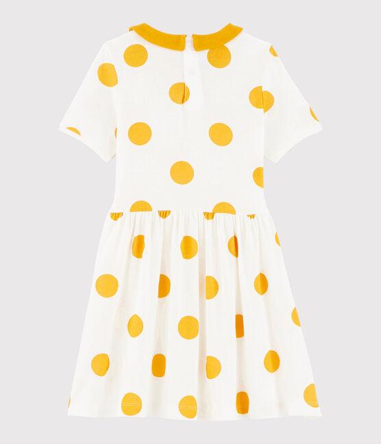 Robe en côte enfant fille blanc Marshmallow / jaune Boudor