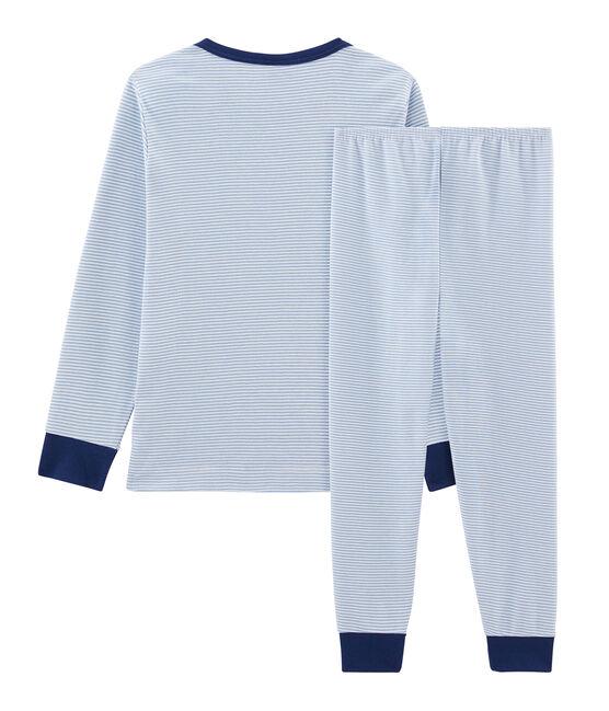Pyjama petit garçon en côte bleu Acier / blanc Marshmallow