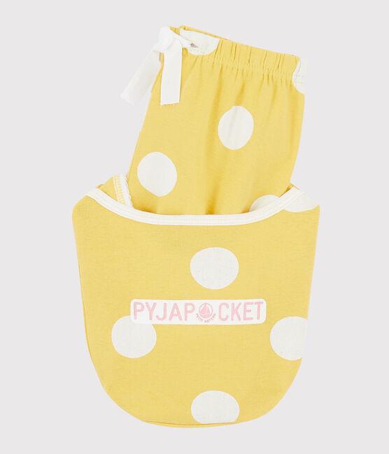Pyjacourt à pois enfant en côte jaune Ble / blanc Ecume