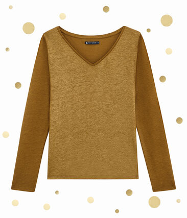 Tee shirt femme manches longues marron Brindille / jaune Dore