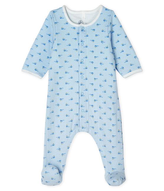Bodyjama bébé en tubique bleu Fraicheur / blanc Multico