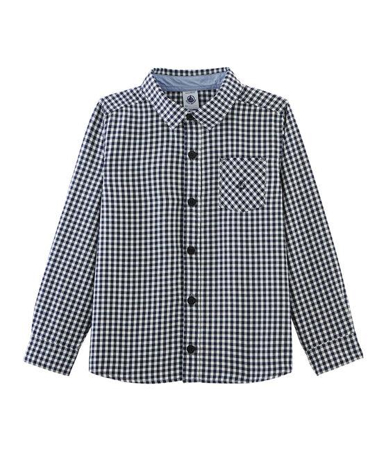 Chemise à carreaux enfant garçon bleu Medieval / blanc Lait
