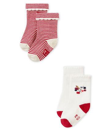 Lot de deux paires de chaussette bébé filles lot .