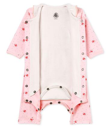 Bodyjama sans pieds bébé fille en côte 1x1 imprimée