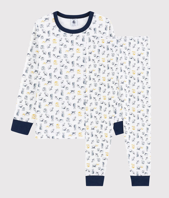 Pyjama ours polaire petit garçon en côte blanc Marshmallow / blanc Multico