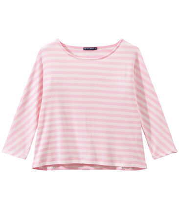 T-shirt femme manches 3/4 rayé rose Babylone / blanc Marshmallow