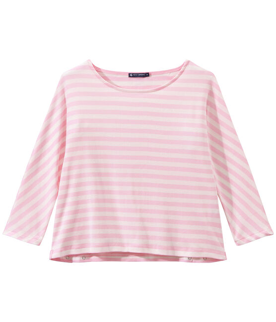 T-shirt femme manches 3/4 rayé rose Babylone / blanc Marshmallow