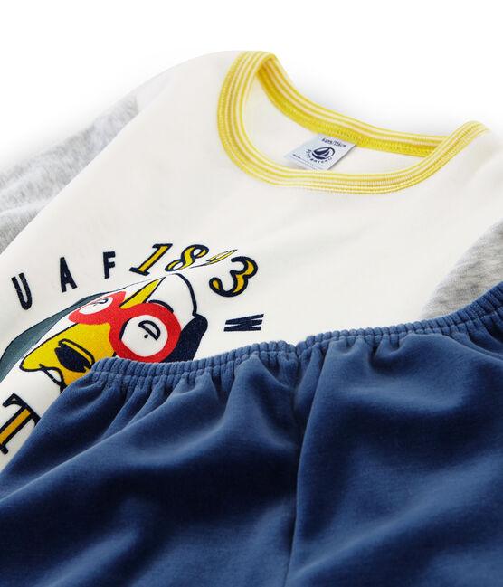 Pyjama petit garçon en velours bleu Medieval / gris Poussiere