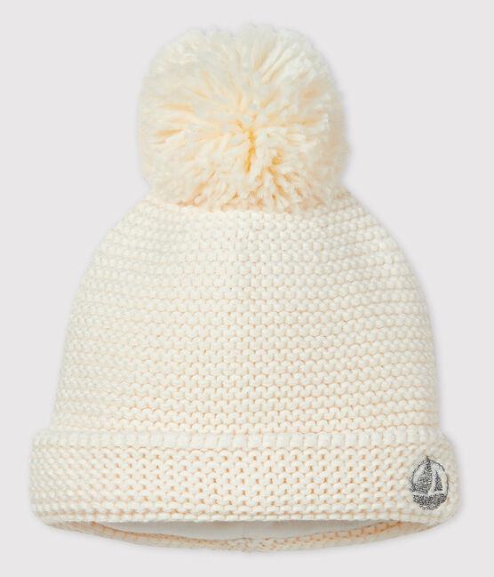 Bonnet à pompom bébé fille/garçon blanc Marshmallow